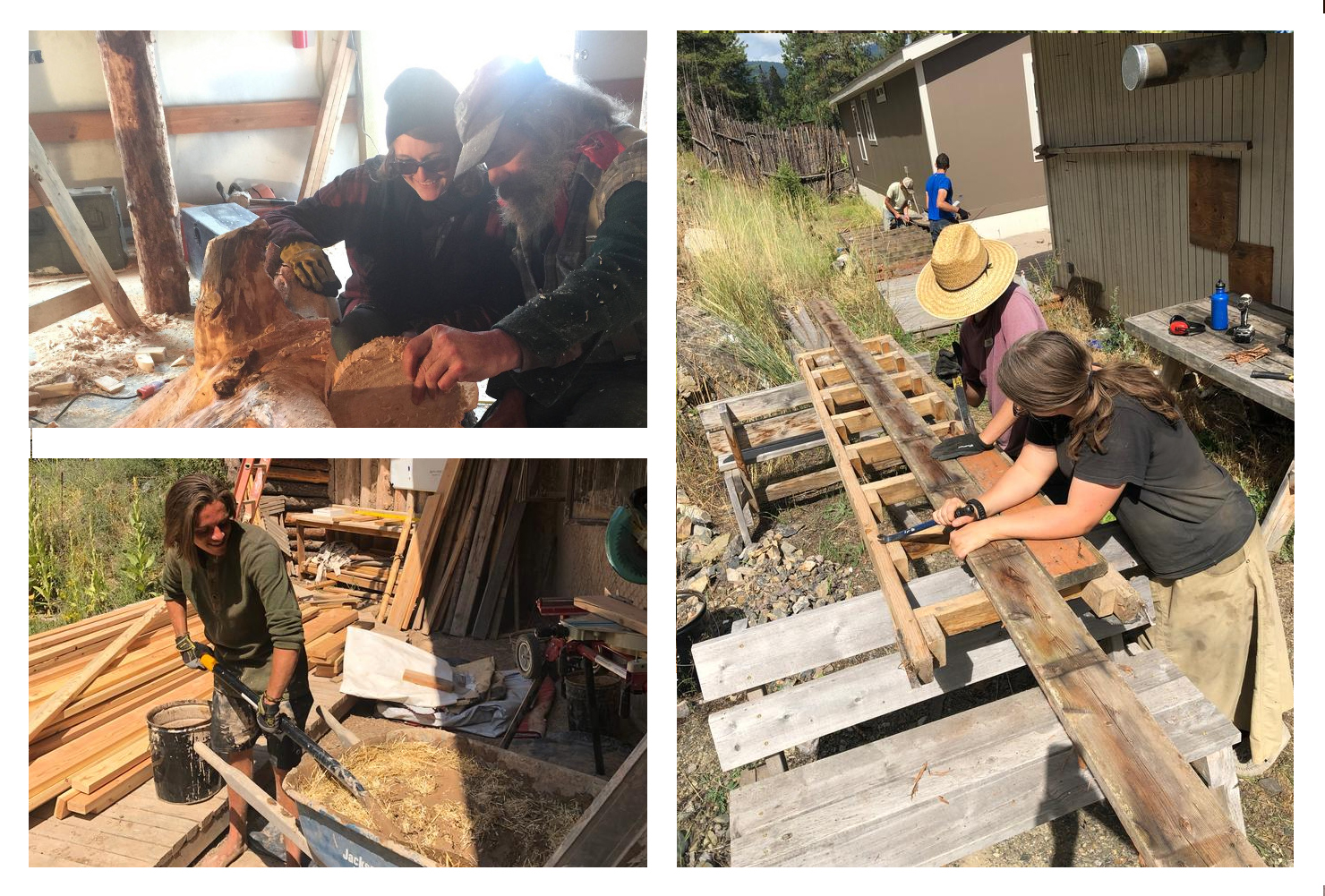 people learning permaculture skills, carpentry, roundwood, natural building