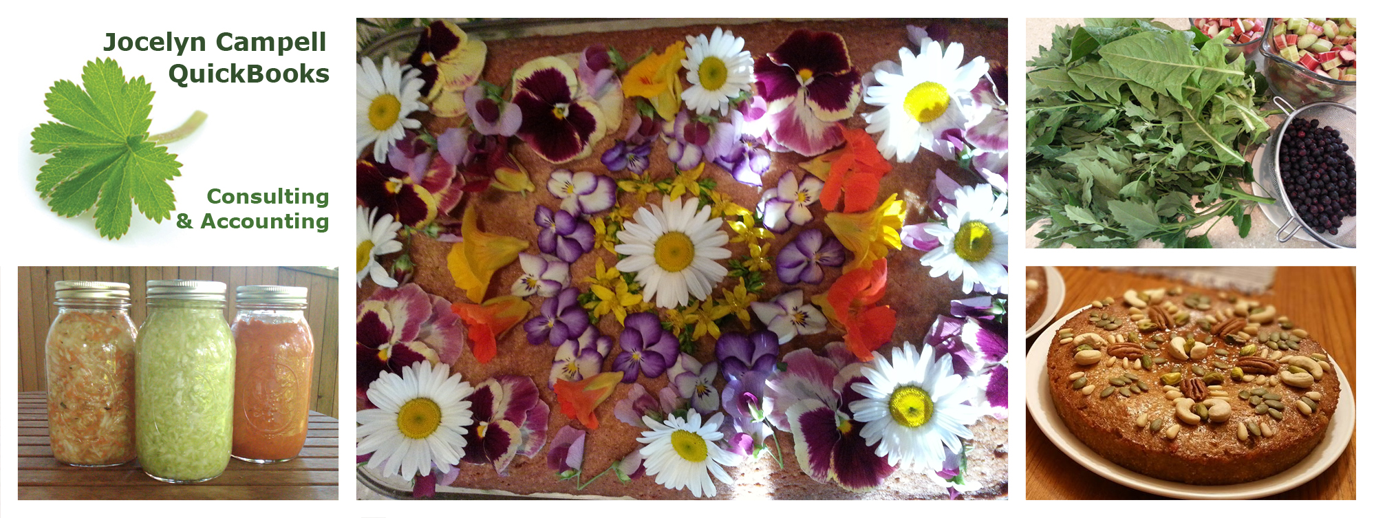 cake decorated with edible flower, lacto-fermented vegetables, baked treats, Jocelyn Campbell quickbooks