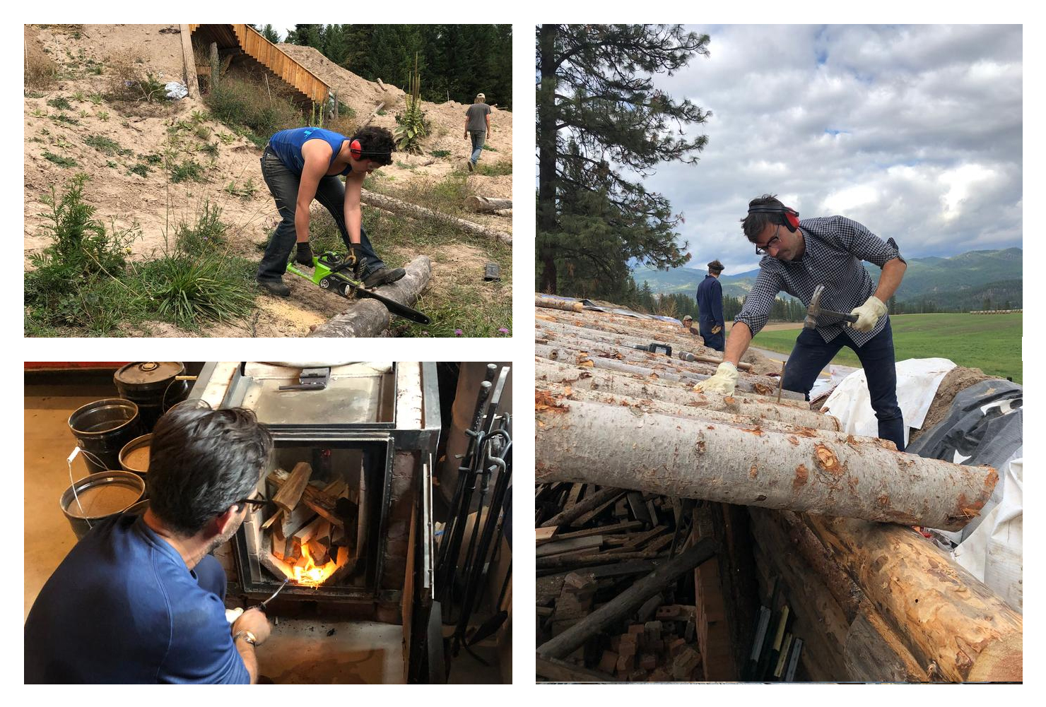 natural building, rocket stove, chainsaw