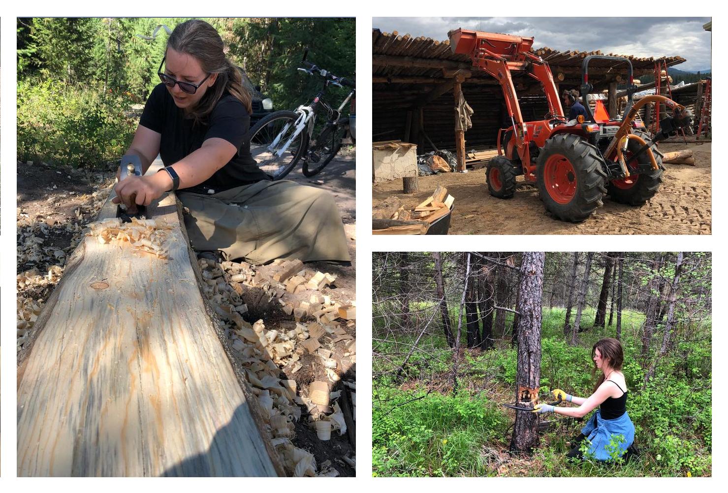 planing wood, handsaw, front-end loader tractor natural building