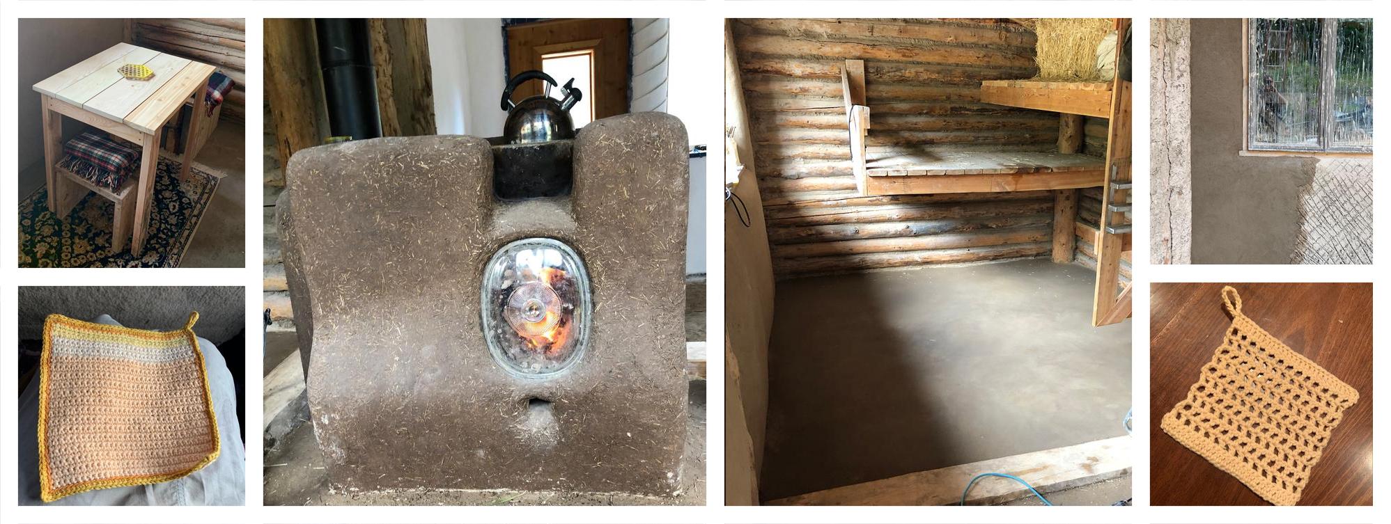 rocket stove, natural floor and siding, small wood table crochet