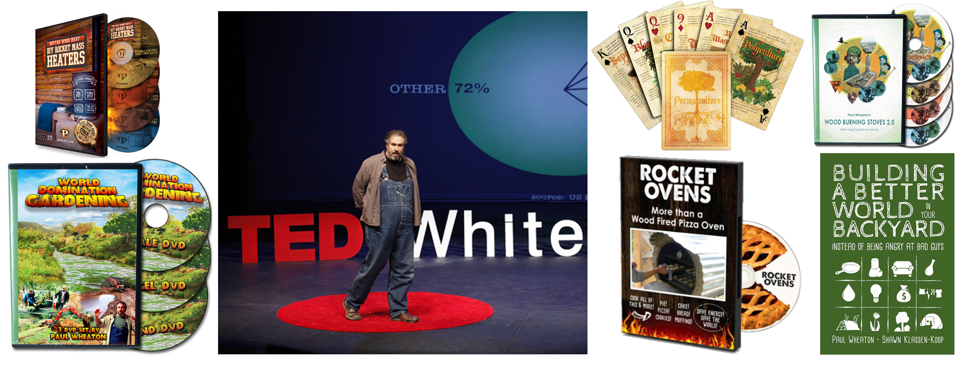 better world book, paul wheaton ted talk, rocket stove and oven DVDs, permaculture cards, World Domination Gardening