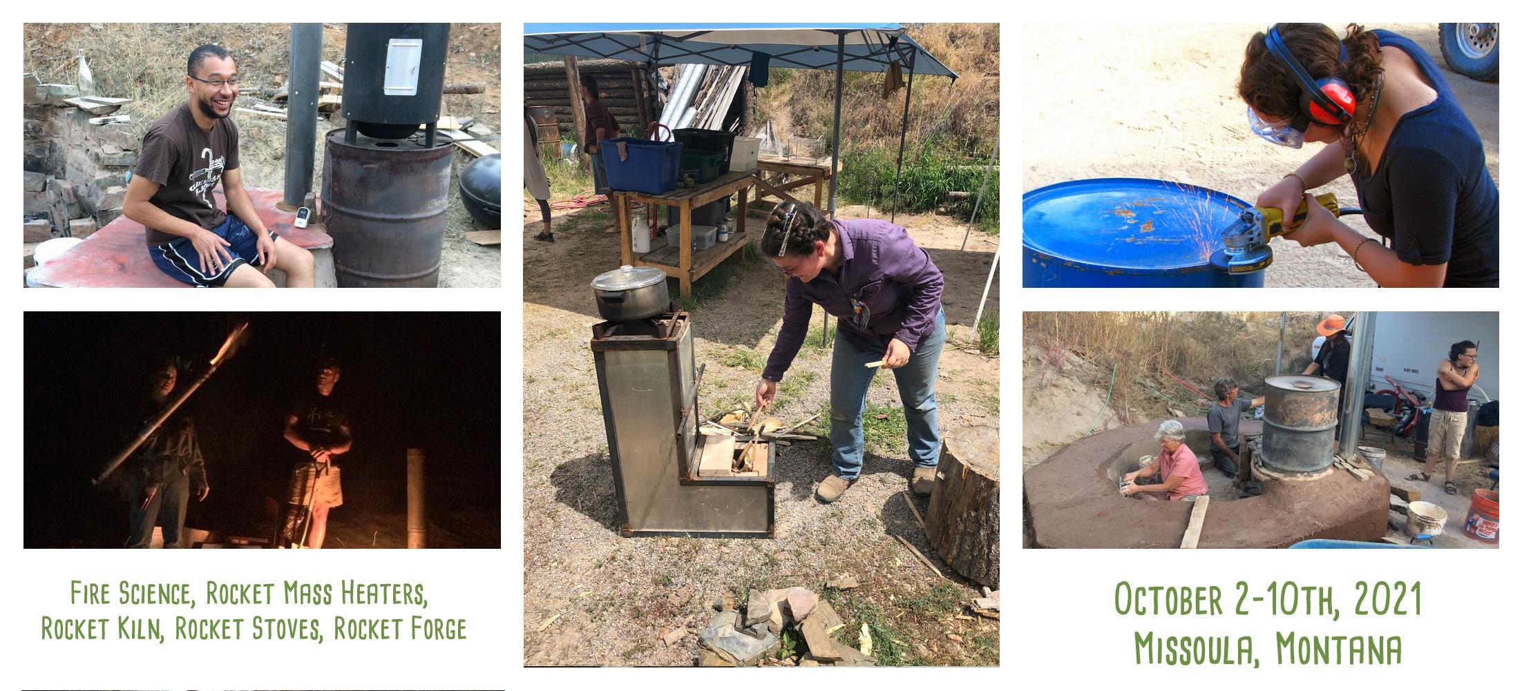 Rocket mass heater Jamboree at wheaton labs people learning woodfired technology