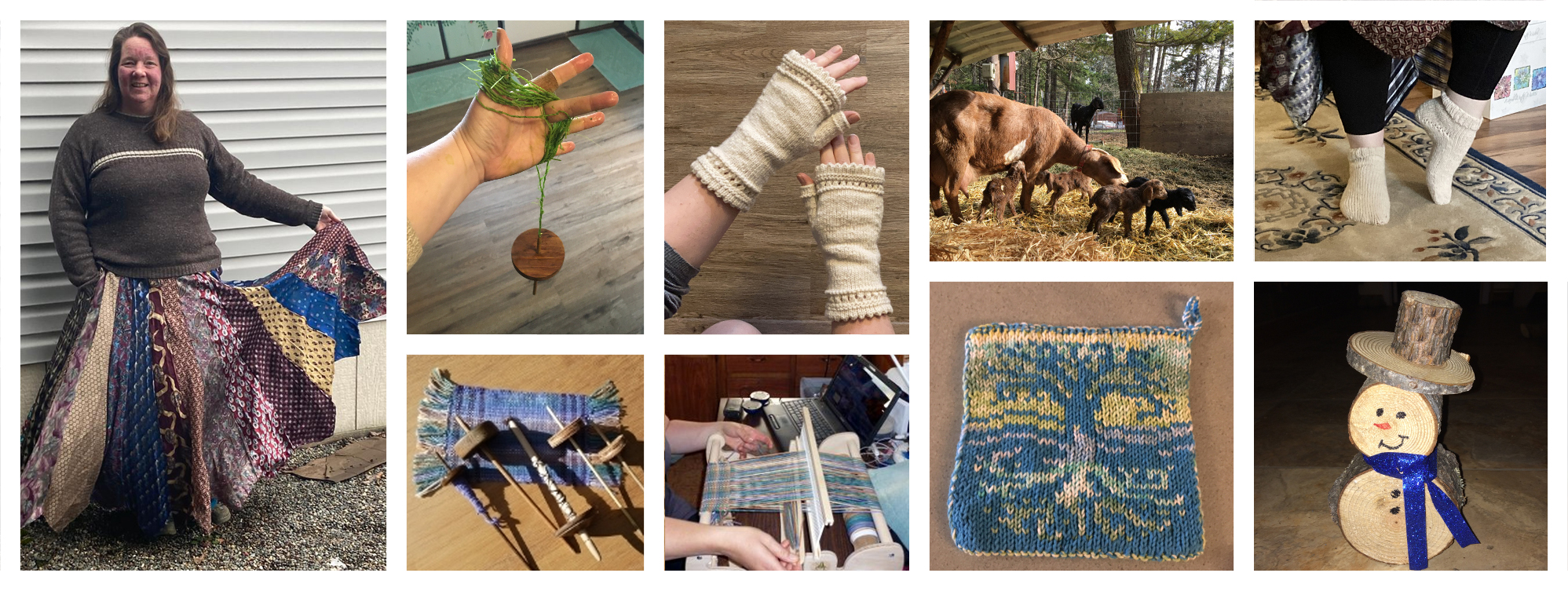 opalyn collage of knitting, spinning weaving and other skills
