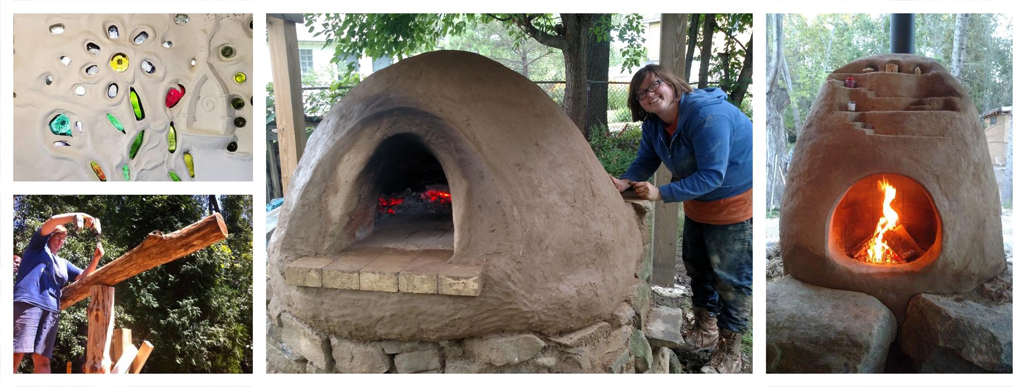 Christiana's rocket oven, cob oven, cob and glass wall