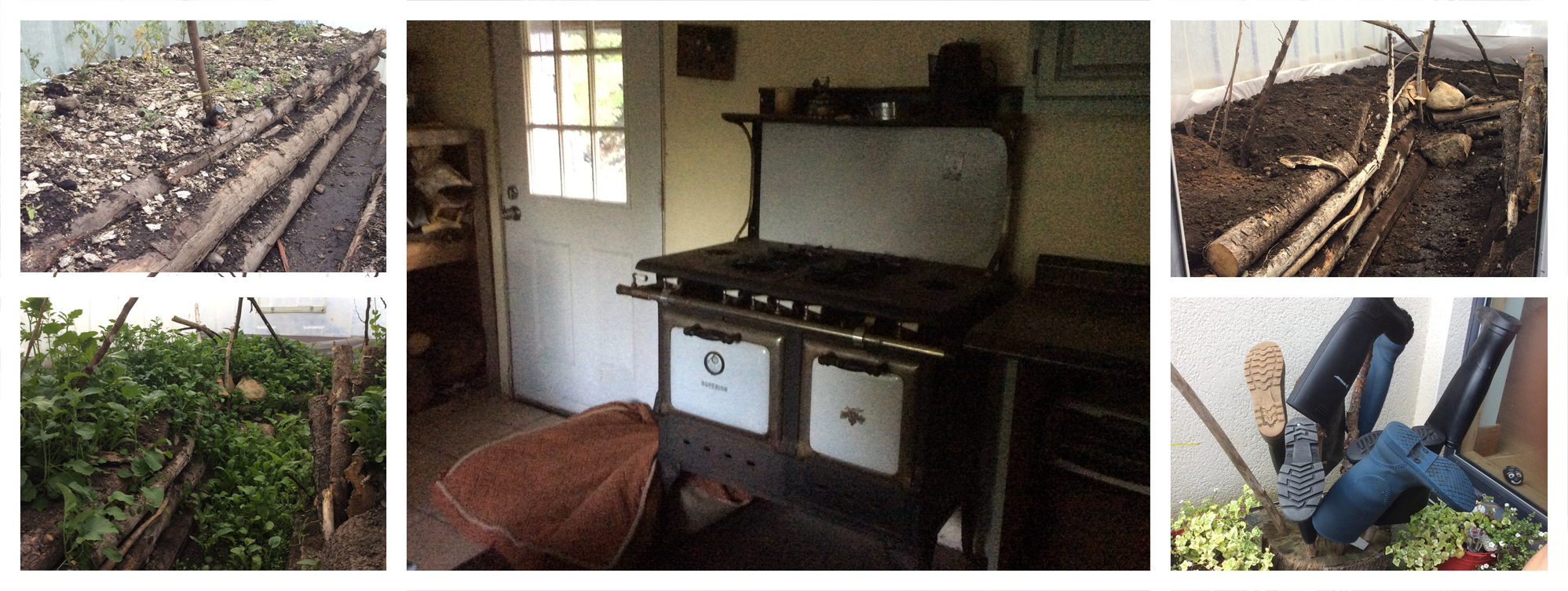 Amelia's greenhouse garden and wood cookstove